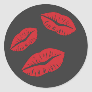 RED EMO GREY LIPS KISSES LIPSTICK THREE LOVE FLIRT CLASSIC ROUND STICKER