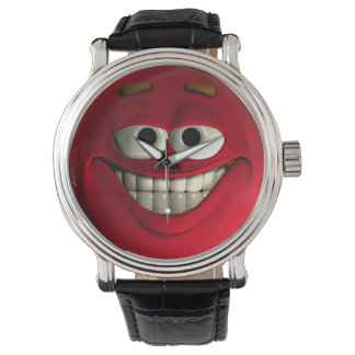 Red Emoticon With White Teeth Watch