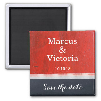 Red Enamel Paint Modern Save the date Magnet