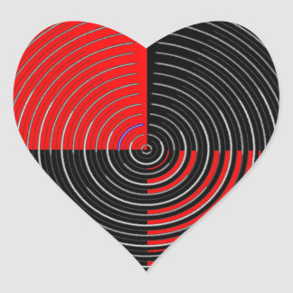 Red Energy Chakra - Silver n Black Streaks Heart Sticker