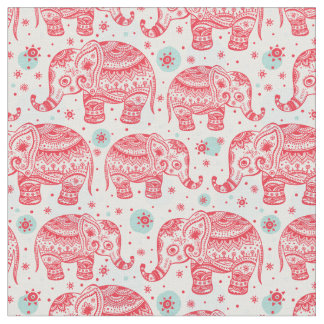 Red Ethnic Elephant Pattern Fabric