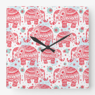 Red Ethnic Elephant Pattern Square Wall Clock