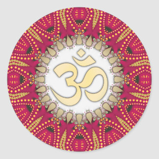 Red Exotic Bohemian Om Spiritual Art Sticker