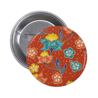 Red exotic Indonesian floral batik pattern 6 Cm Round Badge