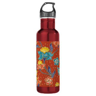 Red exotic Indonesian floral batik pattern 710 Ml Water Bottle
