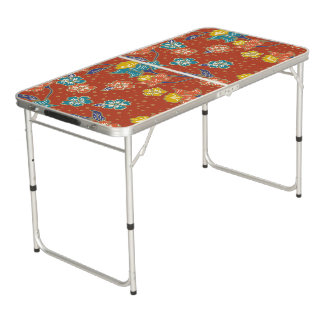 Red exotic Indonesian floral batik pattern Beer Pong Table