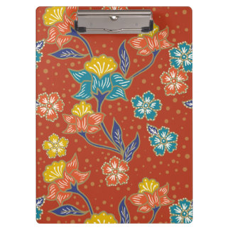 Red exotic Indonesian floral batik pattern Clipboard