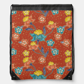 Red exotic Indonesian floral batik pattern Drawstring Bag