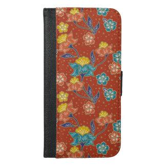 Red exotic Indonesian floral batik pattern iPhone 6/6s Plus Wallet Case