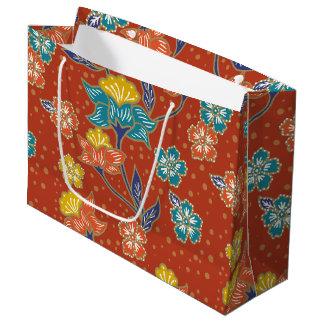 Red exotic Indonesian floral batik pattern Large Gift Bag