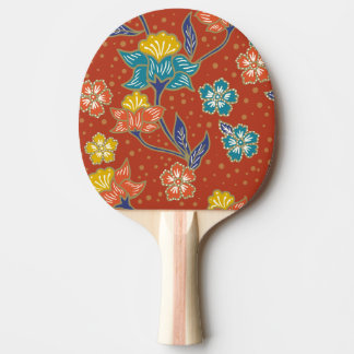 Red exotic Indonesian floral batik pattern Ping Pong Paddle