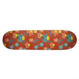 Red exotic Indonesian floral batik pattern Skateboard