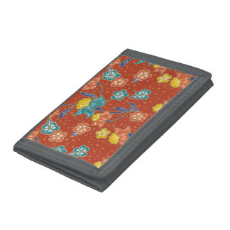 Red exotic Indonesian floral batik pattern Trifold Wallet