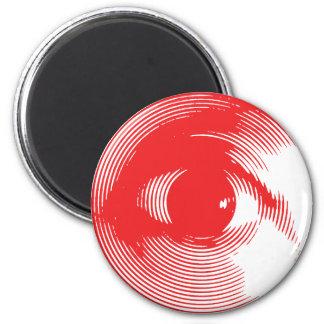 Red eye 6 cm round magnet