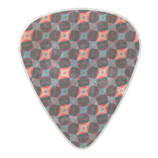 Red Eye Argyle Diamond Cube Geometric Mosaic Pearl Celluloid Guitar Pick