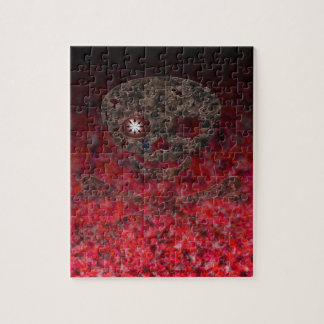 Red Eye Skull with Chaos Jigsaw Puzzle