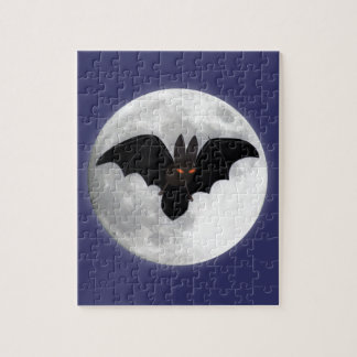 Red-Eyed Bat in Front of Moon Jigsaw Puzzle