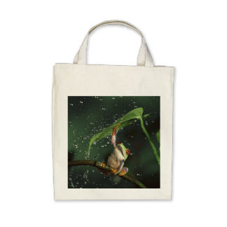 Red Eyed Frog, Organic Grocery Tote Tote Bags