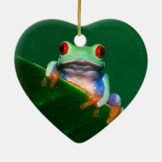 Red Eyed Tree Frog Ceramic Heart Decoration