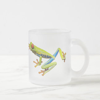 Red eyed tree frog frosted glass mug