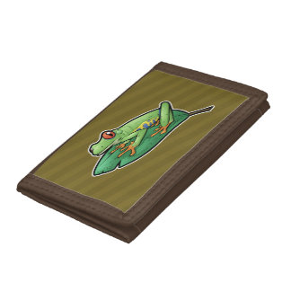 Red Eyed Tree Frog Tri-fold Wallet