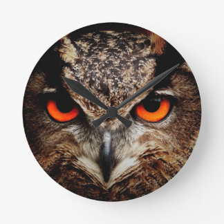 Red Eyes Eagle Owl Wall Clock