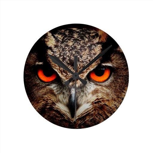 Red Eyes Eagle Owl Wall Clock