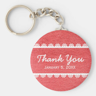 Red Fabric Texture with White Lace Basic Round Button Key Ring