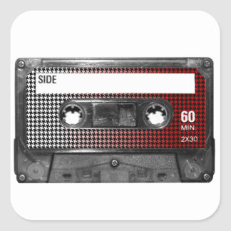 Red Fade Houndstooth Label Cassette Square Sticker
