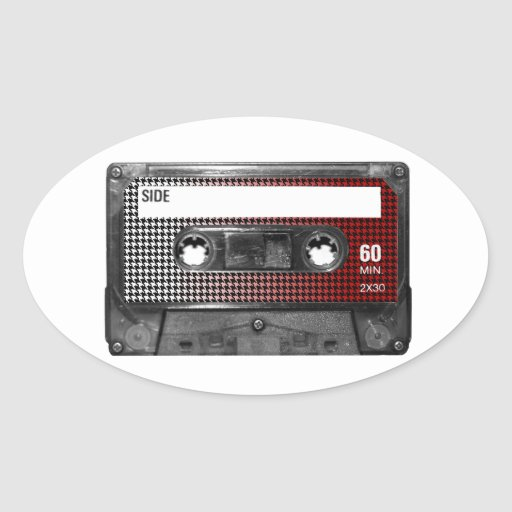 Red Fade Houndstooth Label Cassette Stickers