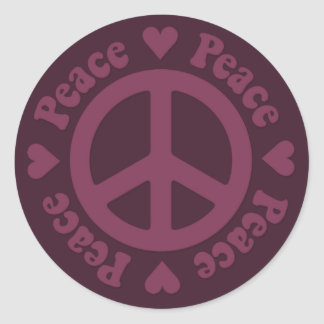 Red Fade Peace Sign Round Stickers