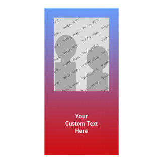 Red fading to Blue Colors, simple design. Custom Photo Card