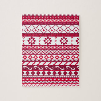 Red Fair Isle Christmas Pattern Jigsaw Puzzle