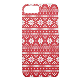Red Fair Isle Christmas Sweater Pattern iPhone 8/7 Case