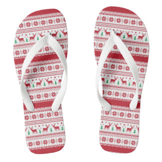 Red Fair Isle Design Flip Flops