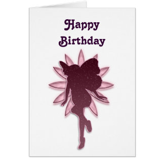Red Fairy and Pink Flower Silhouette Greeting Card