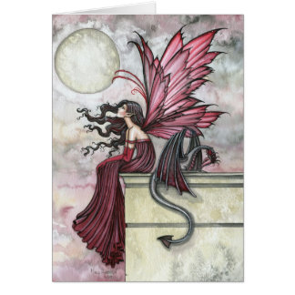 Red Fairy Dragon Card by Molly Harrison