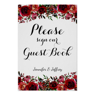 Red Fall Autumn Floral Wedding Guest Book Sign Poster