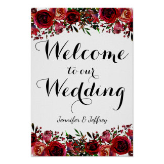 Red Fall Autumn Floral Wedding Welcome Sign Poster