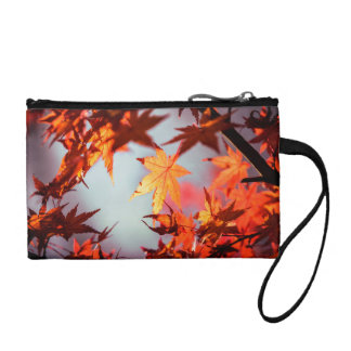 Red Fall Autumn Leaves Maple Tree Coin Purse