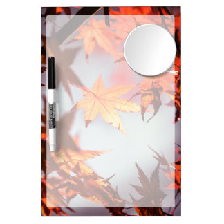 Red Fall Autumn Leaves Maple Tree Dry Erase Board With Mirror