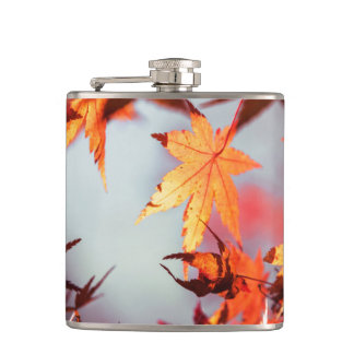 Red Fall Autumn Leaves Maple Tree Hip Flask