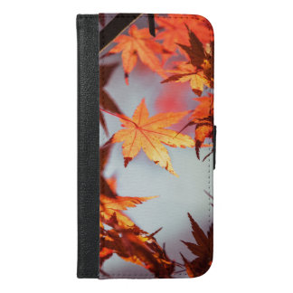 Red Fall Autumn Leaves Maple Tree iPhone 6/6s Plus Wallet Case