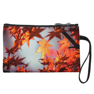 Red Fall Autumn Leaves Maple Tree Wristlet