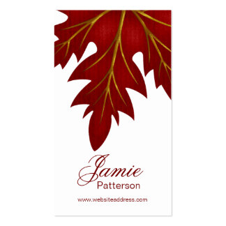 Red Fall Leaf Design Vertical Business Cards
