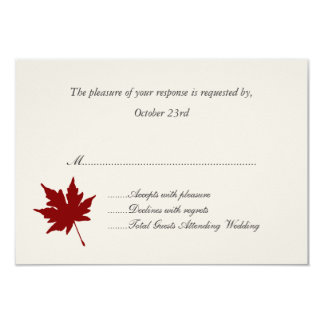 Red Fall Leaf Wedding Response Cards 9 Cm X 13 Cm Invitation Card