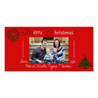 Red Family Christmas Photo Card