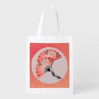 Red fans sun grunge reusable bag