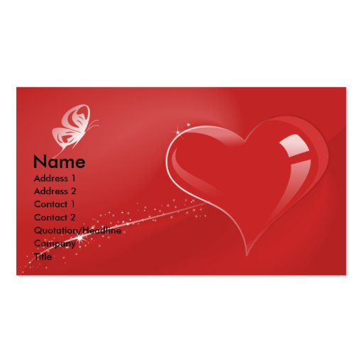 Red fantasy heart and butterfly zazzle for Butterfly business cards