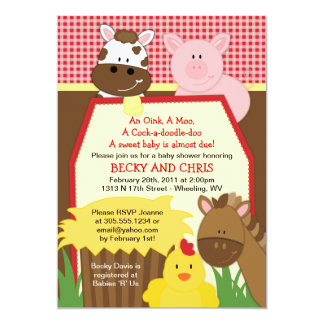 Red Farm Barnyard Baby Shower Invitation